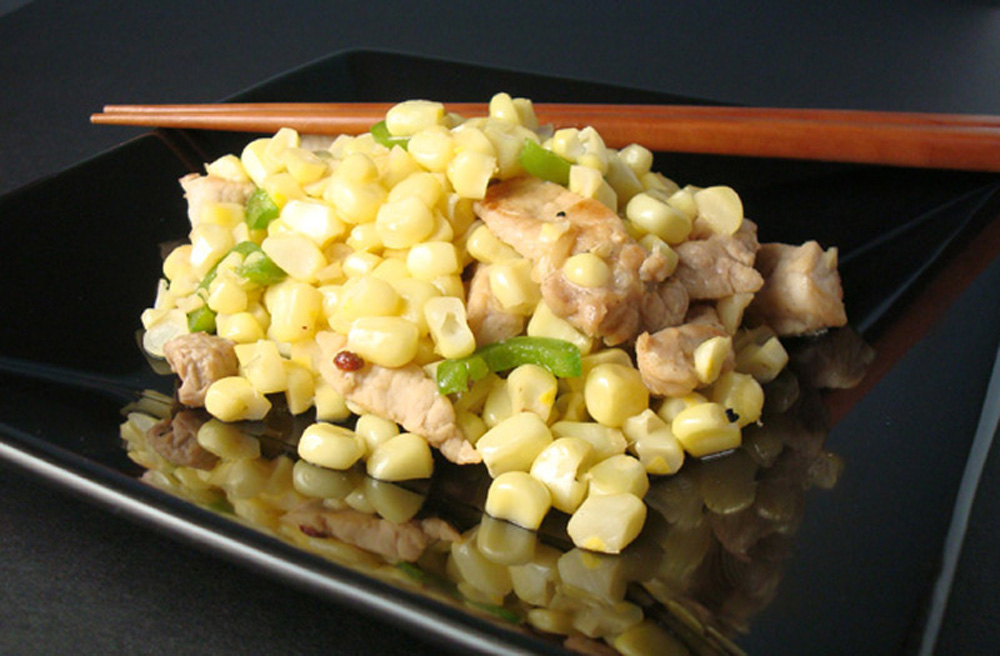 An easy stir-fry of pork, fresh corn, and Sichuan peppecorns