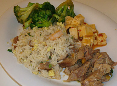 Ma po tofu, crystal pork, fried rice, and stir-fried broccoli.