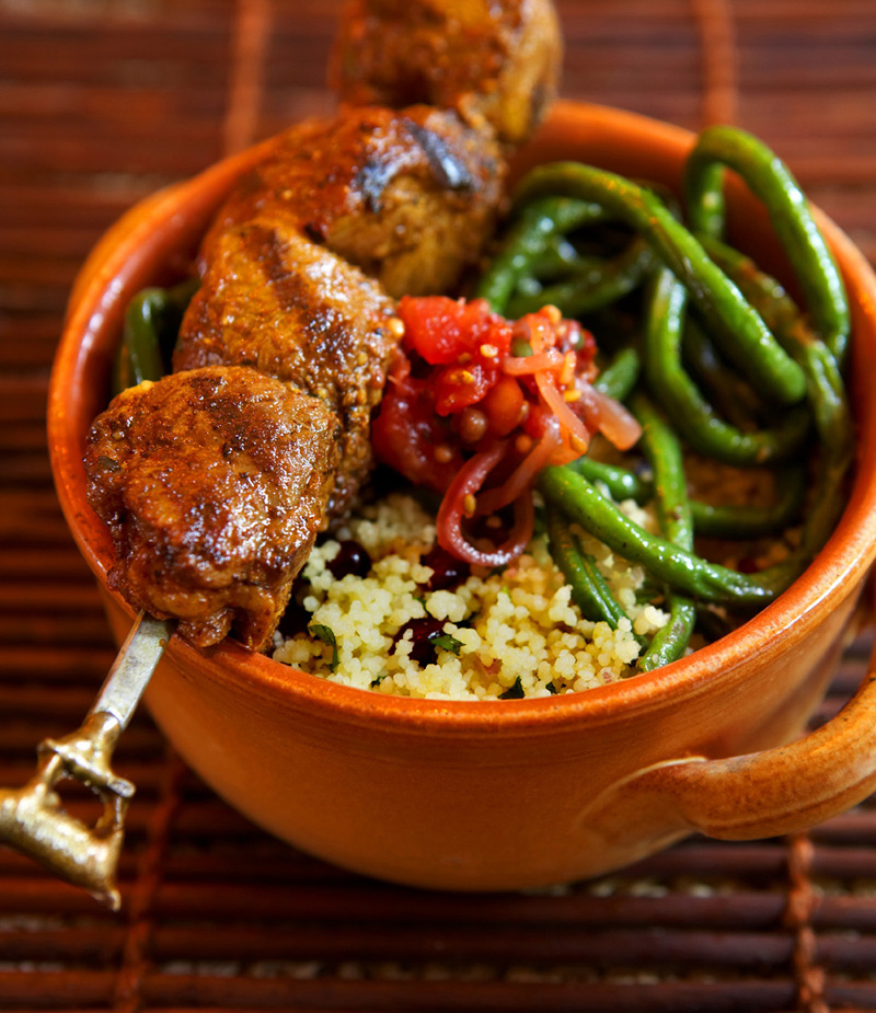 Caribbean grilled lamb skewers with long beans. Recipe follows at the end. (Photo by Frankie Frankeny)