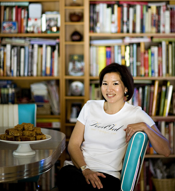 Yes, those are blondies next to me, and mostly cookbooks behind me. Photo by Joanne Hoyoung-Lee.