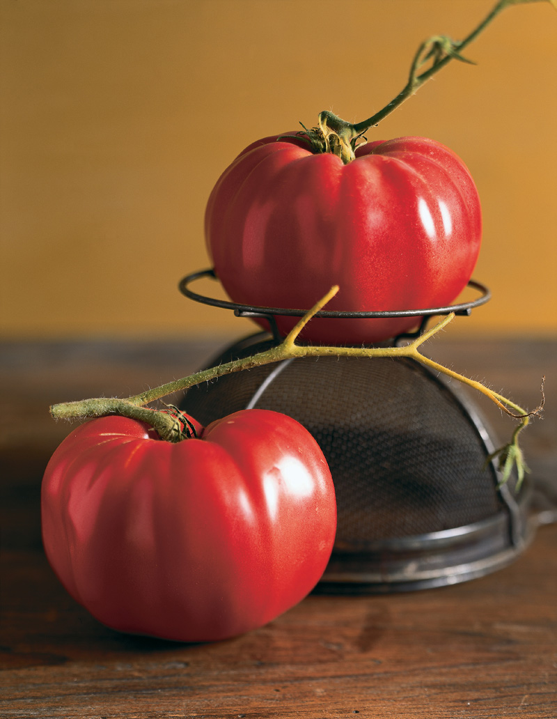 German pink tomatoes. Photograph by Victor Schrager.