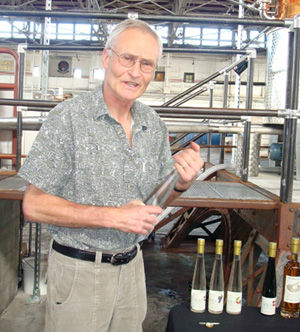 Jorg Rupf prepares for a tasting of eaux de vie