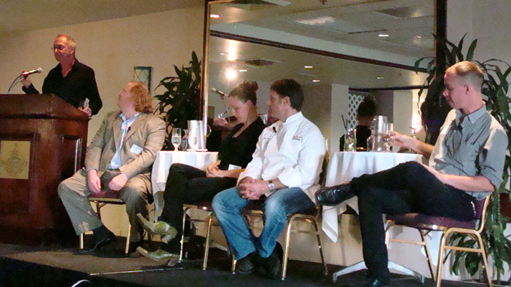(left to right) Clark Wolf, Jonathan Gold, Zoi Antonitsis, Joey Altman, and Scott Hocker