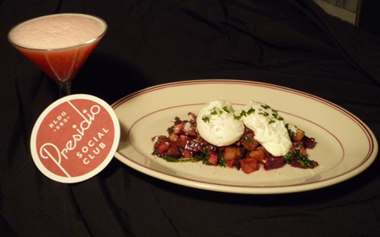 Oxtail red flannel hash and a Pink Elephant cocktail. (Photo courtesy of Shawn Kearney)