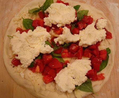 Pizza Pomodoro with ricotta, pre-baking