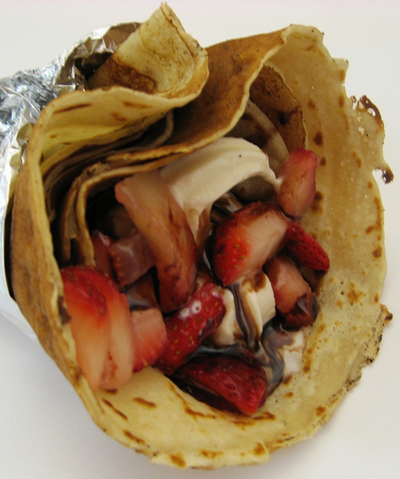 Crispy crepe cone with frozen custard and strawberries. (Photo courtesy of Chill)