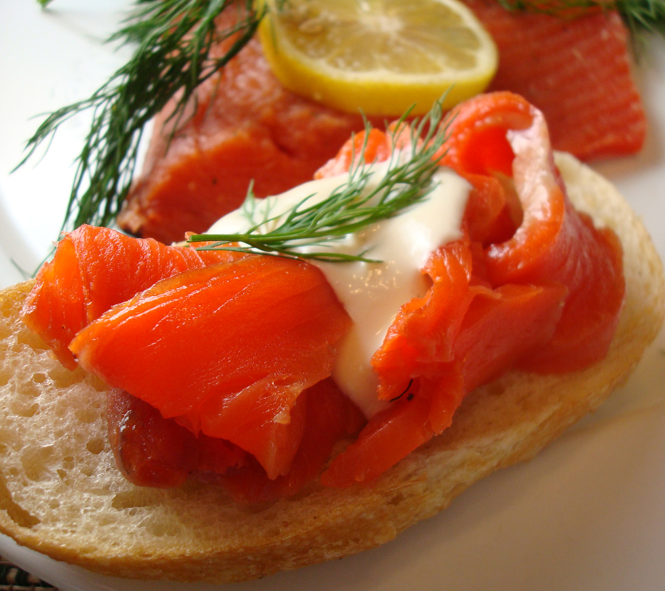 Gravlax topped with a creamy sauce of Greek yogurt and Dijon mustard.