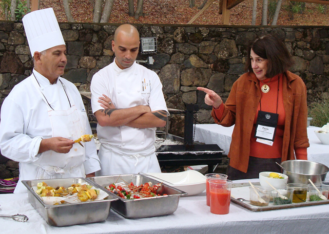 (Left to Right) Chef Haouari Abderrazak, Chef Mourad Lahlou, and Mediterranean cooking authority, Paula Wolfert.