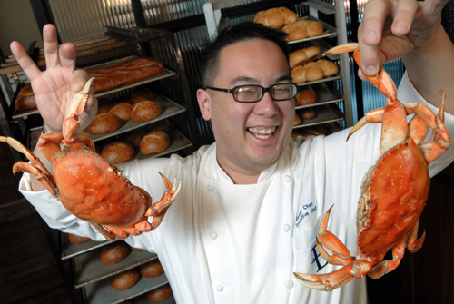 Bistro Boudin Executive Chef James Chan gets crabby. (Photo courtesy of Boudin Bistro)