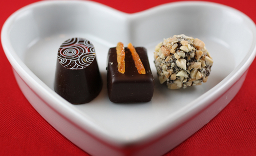 (Left to Right): Barbados (grapefruit), Valencia (orange), and Kalahari (dark chocolate rolled in nuts)