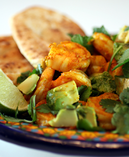Naan is a great way to scoop up this zesty, spicy Masala shrimp.
