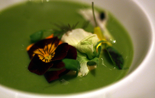 Chef David Kinch's garden green veloute with stone-ground mustard cream.