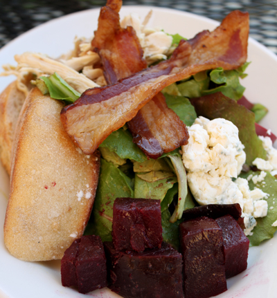 Balsamic beet salad with Pt. Reyes blue cheese.