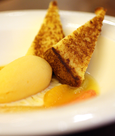 A light finale of citrus and toasted orange cake.