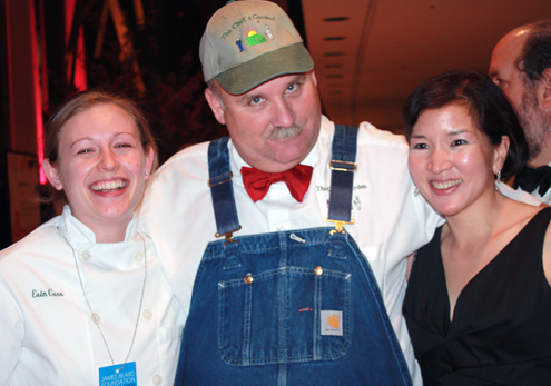 (left to right) Culinary student Erin, Farmer Lee Jones of the Chefs Garden in Cleveland, and yours truly.