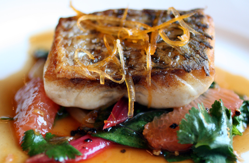 Roasted striped bass with swiss chard, grapefruit, and balsamic.