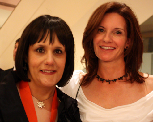 Pastry Chef Gina DePalma (left) with friend and Bay Area restaurant publicist, Michele Mandell.