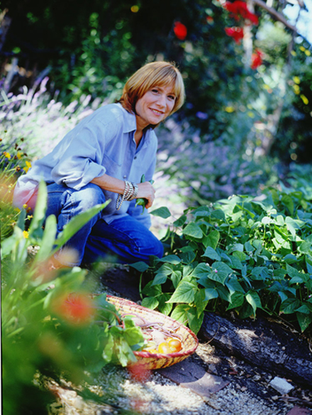 Jesse Cool in her organic garden in Palo Alto. (Photo courtesy of Jesse Cool)