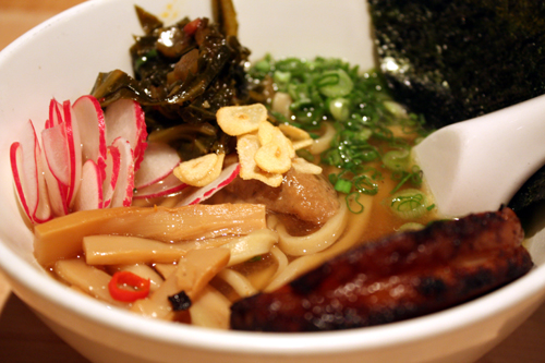 Hand-cut noodles with pork belly
