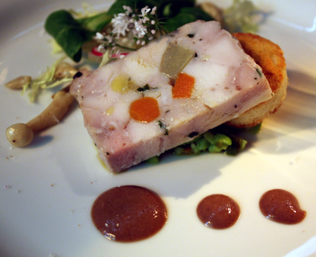 Rabbit terrine with pickled ramp salsa