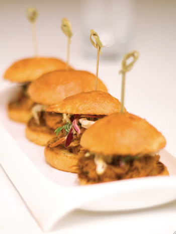 Southern-style barbecue pork sliders. (Photo courtesy of the Ritz-Carlton)