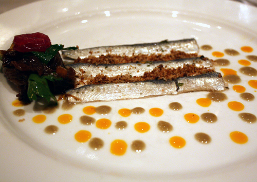 Fresh sardines done up like modern art.