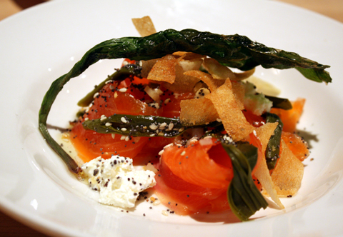 Sea trout with pickled ramps and goat cheese.