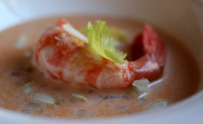 Lobster-like spot prawn in a sea of green almond gazpacho.