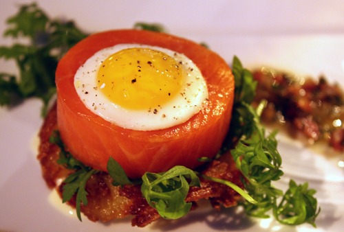 Tasmanian ocean trout with potato rosti and quail egg