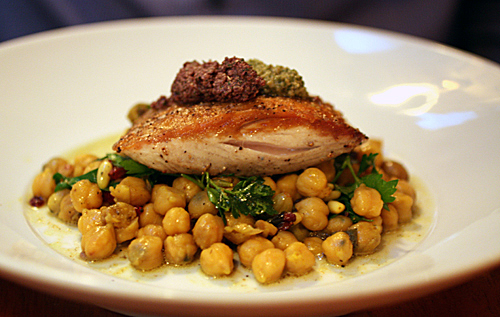 Mahi Mahi on a bed of wicked good chickpeas.