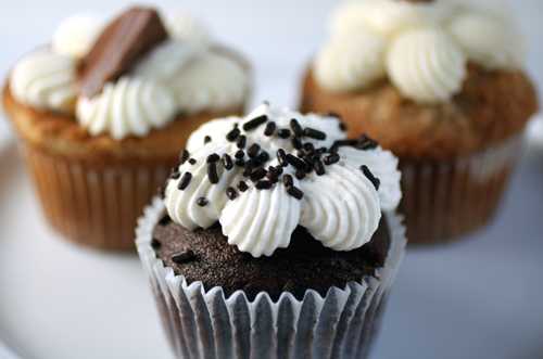 Chocolate Dream cupcake (front), Caramel (rear left), Hummingbird (rear right)