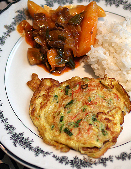 Chewy Tteokbokki (top left), and Joanne's Mom's savory omelet (bottom center).