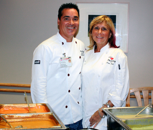 Stanford Hospital Executive Chef Beni Velazquez and Flea Street Cafe restaurateur Jesse Cool.