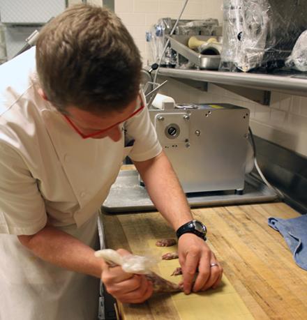 Filling Lombardian ravioli.