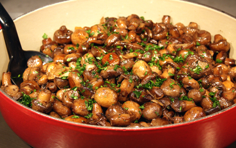Mushrooms with garlic and parsley.