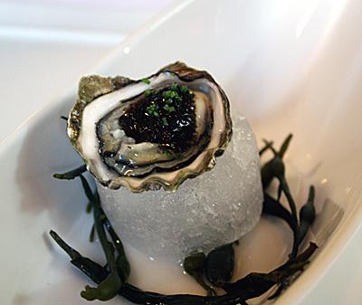 Kumamoto oyster with pressed caviar.