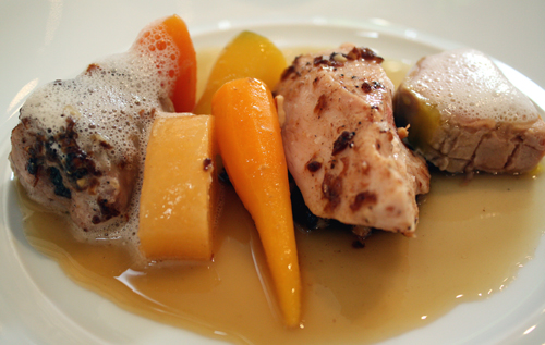 Foie gras (far right) with poularde, carrots and rutabaga.