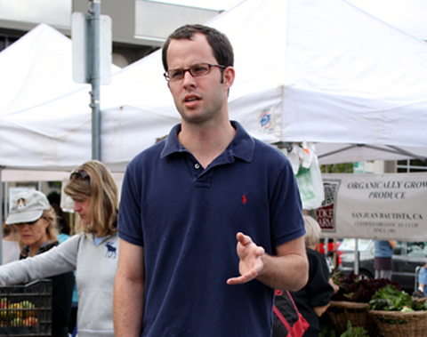 Chef Guillaume Bienaime of March at the Menlo Park farmers market.