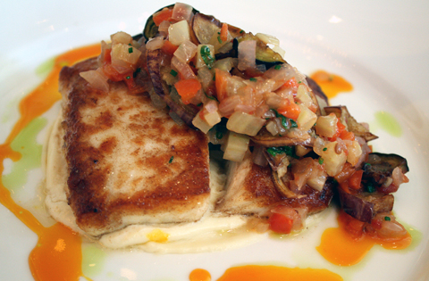 Beautifully cooked halibut with caponata.
