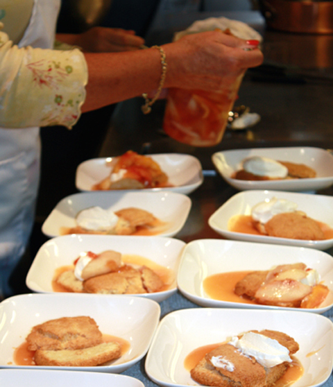 Plating the just-baked shortcakes.