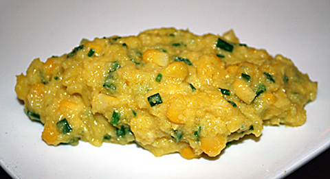 "Luscious corn ""polenta'' that has no cornmeal in it."