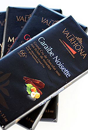 Valrhona chocolate bars for enjoying straight out of hand.