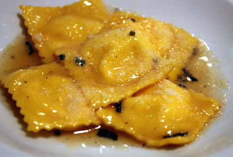 Agnolotti in honey-brown butter sauce.