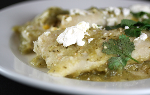 Enchiladas with zesy, spicy salsa verde and creamy feta cheese.