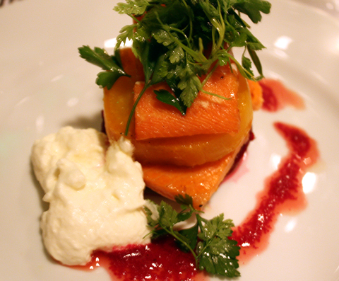 Honey-glazed smoke trout with horseradish foam.