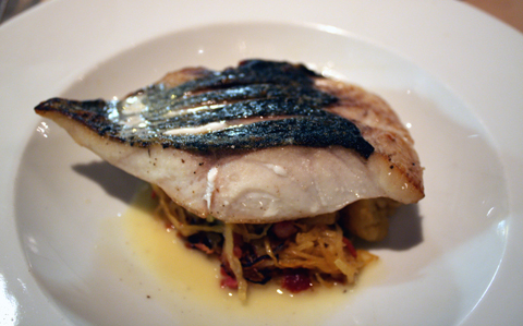 Sea bass with spaghetti squash.