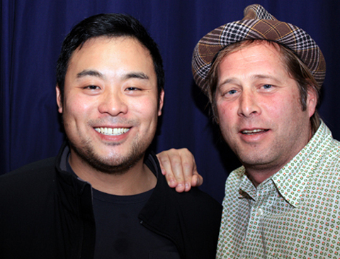 Chefs David Chang (left) and David Kinch (right) at Kepler's earlier today.