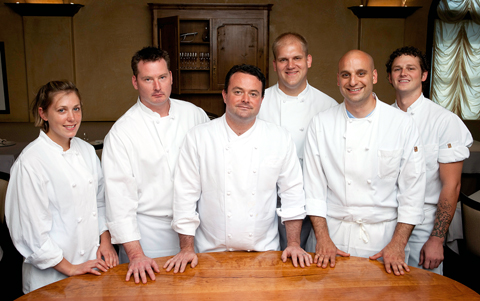 Chef Doug Keane (center) and his staff. (Photo courtesy of Cyrus resaurant)
