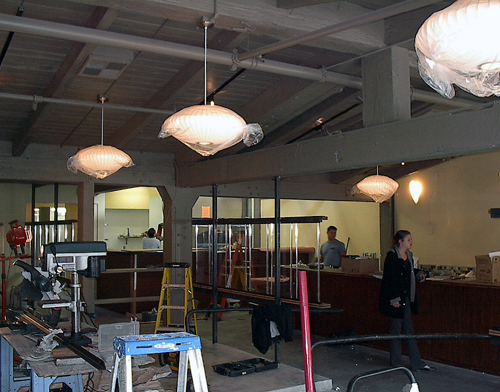 Dining room and bar under construction. (Photo courtesy of EcoModern Design)