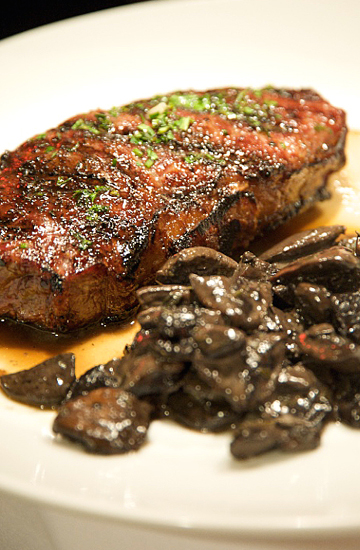Steak with sherry mushrooms at Medallion Steakhouse. (Photo courtesy of Rick Camargo)